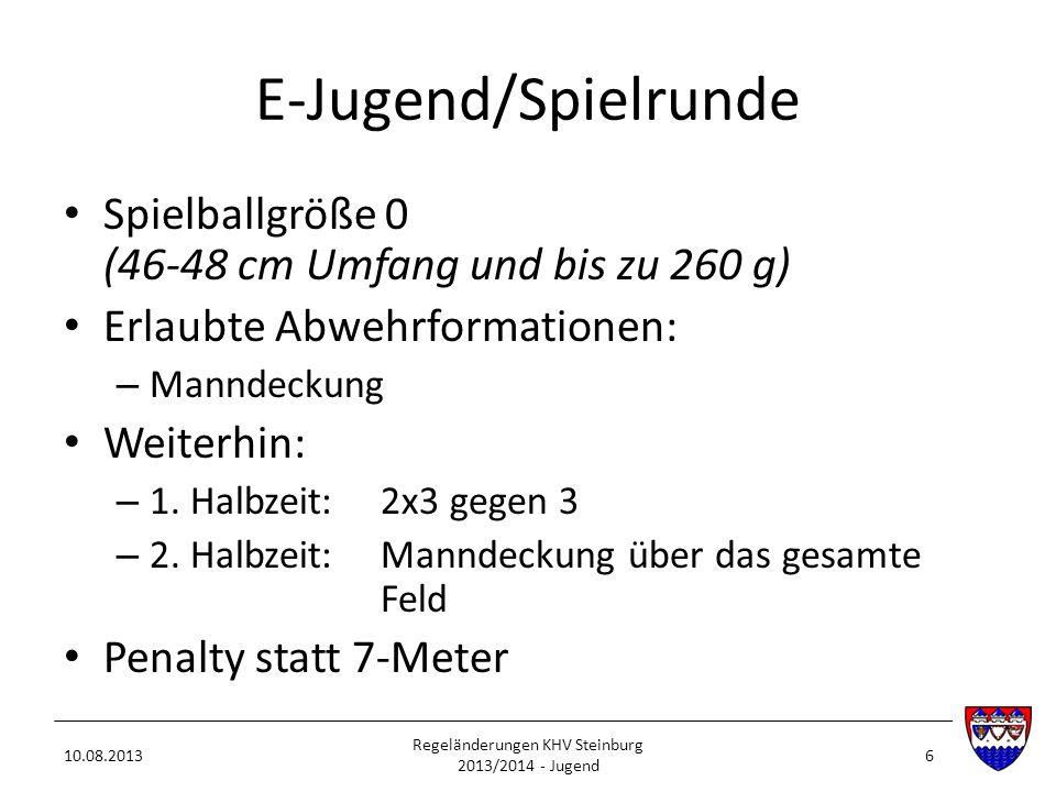 E-Jugend/Spielrunde Spielballgröße 0 (46-48 cm Umfang und bis zu 260 g) Erlaubte Abwehrformationen: – Manndeckung Weiterhin: – 1. Halbzeit:2x3 gegen 3