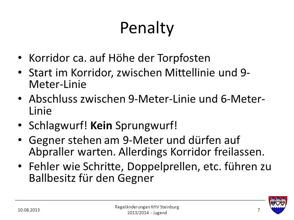 Penalty Korridor ca. auf Höhe der Torpfosten Start im Korridor, zwischen Mittellinie und 9- Meter-Linie Abschluss zwischen 9-Meter-Linie und 6-Meter-