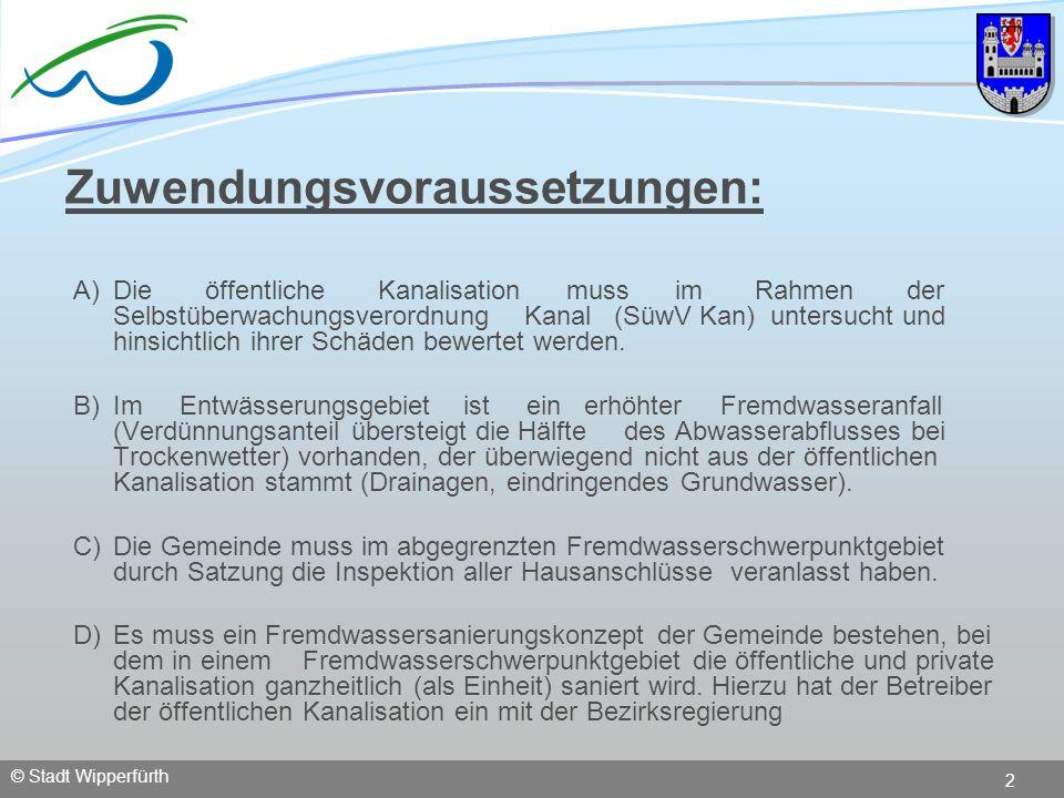 © Stadt Wipperfürth 2 Zuwendungsvoraussetzungen: A)Die öffentliche Kanalisation muss im Rahmen der Selbstüberwachungsverordnung Kanal (SüwV Kan) unter