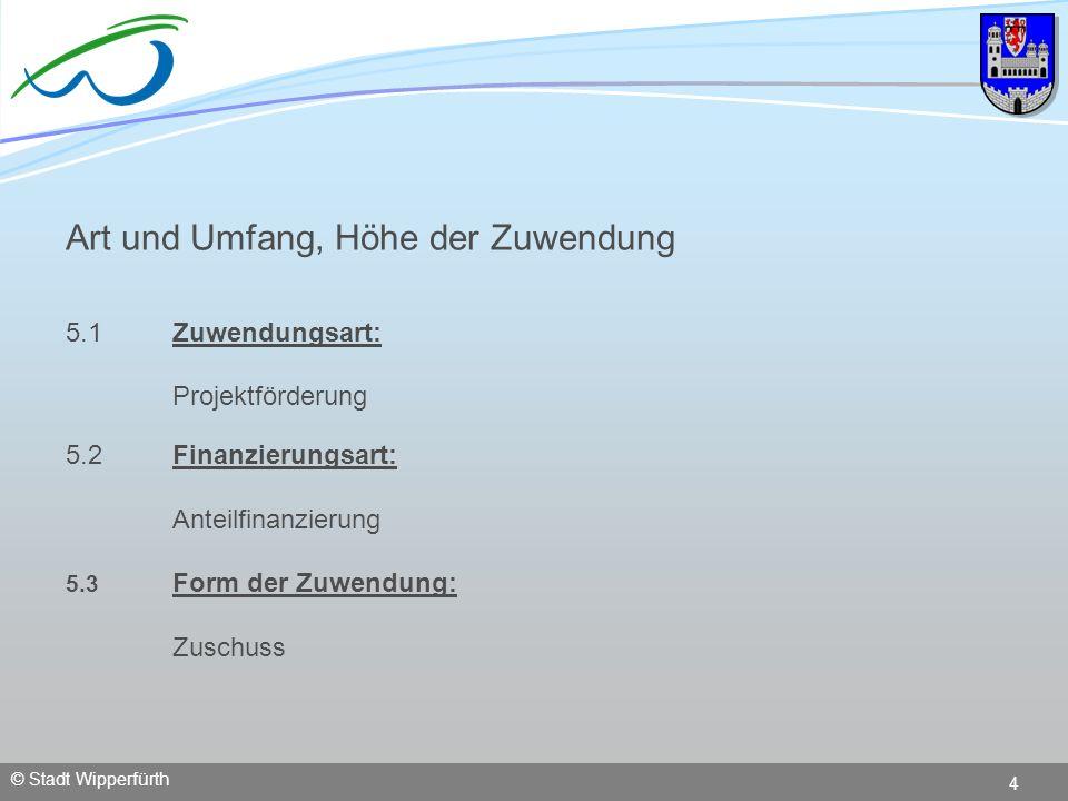 © Stadt Wipperfürth 4 Art und Umfang, Höhe der Zuwendung 5.1Zuwendungsart: Projektförderung 5.2 Finanzierungsart: Anteilfinanzierung 5.3 Form der Zuwe