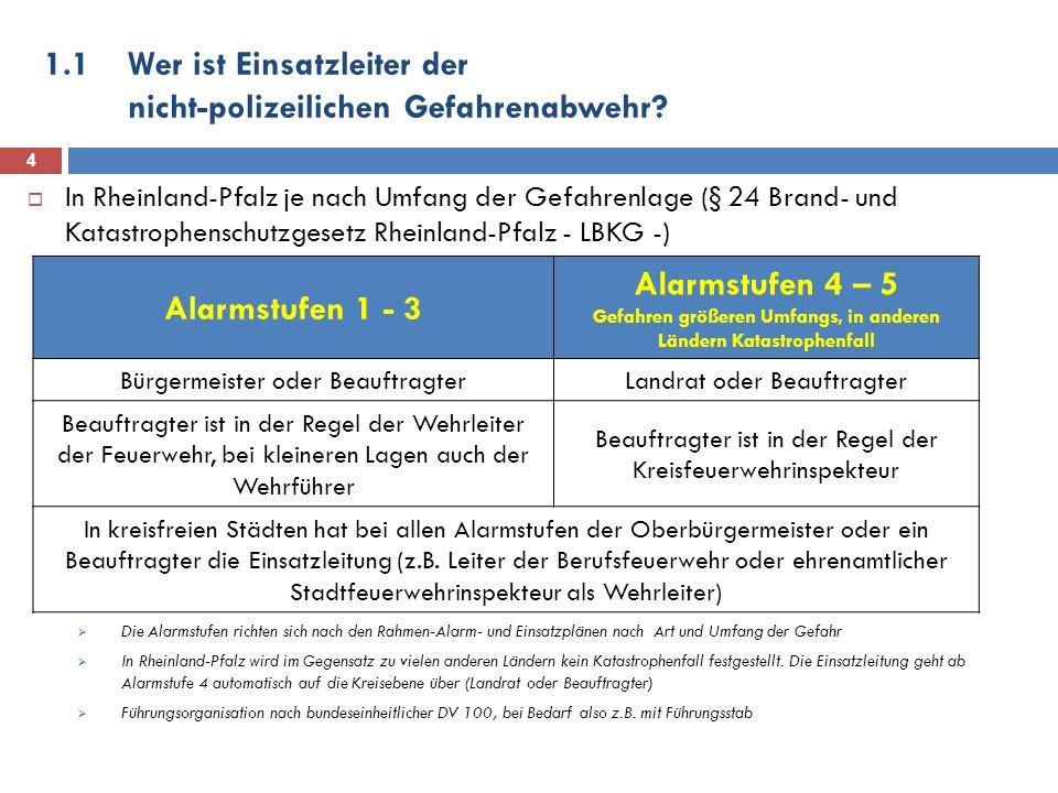1.1Wer ist Einsatzleiter der nicht-polizeilichen Gefahrenabwehr? In Rheinland-Pfalz je nach Umfang der Gefahrenlage (§ 24 Brand- und Katastrophenschut