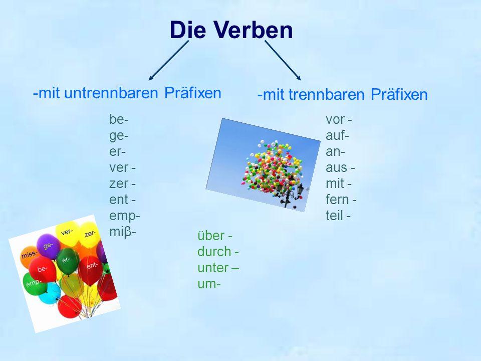 Die Verben -mit untrennbaren Präfixen -mit trennbaren Präfixen be- ge- er- ver - zer - ent - emp- miβ- vor - auf- an- aus - mit - fern - teil - über -