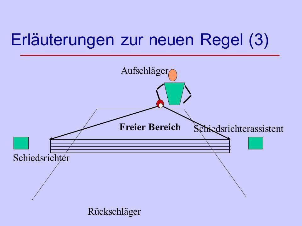 Erläuterungen zur neuen Regel (3) Aufschläger Rückschläger Schiedsrichter Freier Bereich Schiedsrichterassistent