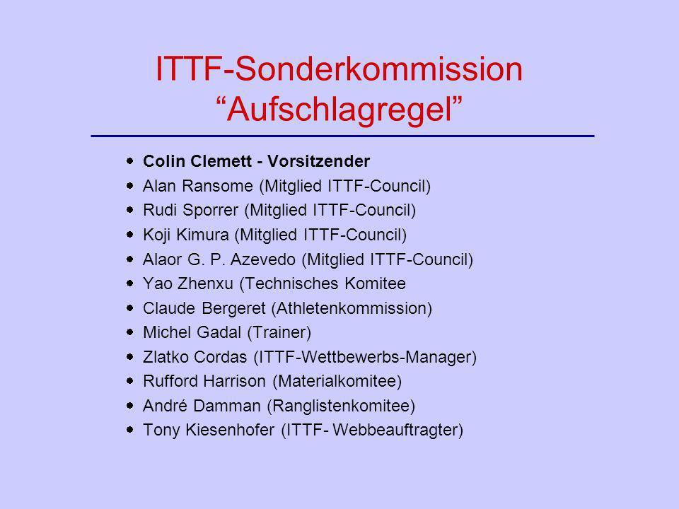 ITTF-Sonderkommission Aufschlagregel Colin Clemett - Vorsitzender Alan Ransome (Mitglied ITTF-Council) Rudi Sporrer (Mitglied ITTF-Council) Koji Kimur