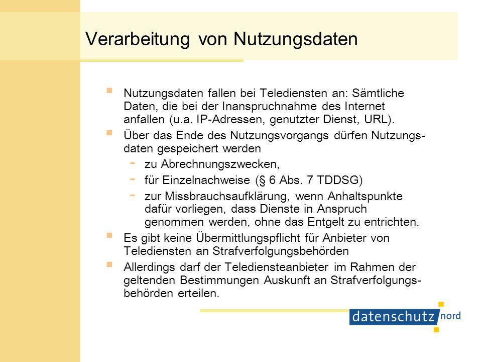 Verarbeitung von Inhaltsdaten Während für die Verarbeitung von Bestands-, Verbindungs- und Nutzungsdaten das TKG und das TDDSG abschließend sind, kommen zum Schutz der Inhaltsdaten ergänzend das BDSG und andere Datenschutzgesetze hinzu, z.B.