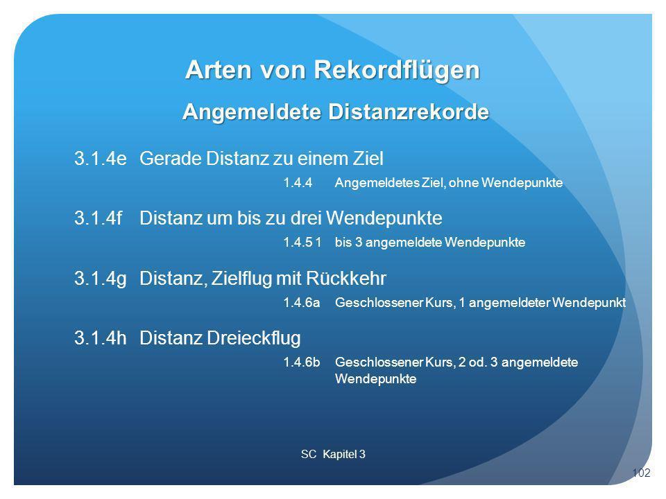 SC Kapitel 3 Angemeldete Distanzrekorde Arten von Rekordflügen 102 3.1.4e Gerade Distanz zu einem Ziel 1.4.4 Angemeldetes Ziel, ohne Wendepunkte 3.1.4f Distanz um bis zu drei Wendepunkte 1.4.5 1 bis 3 angemeldete Wendepunkte 3.1.4g Distanz, Zielflug mit Rückkehr 1.4.6a Geschlossener Kurs, 1 angemeldeter Wendepunkt 3.1.4h Distanz Dreieckflug 1.4.6b Geschlossener Kurs, 2 od.