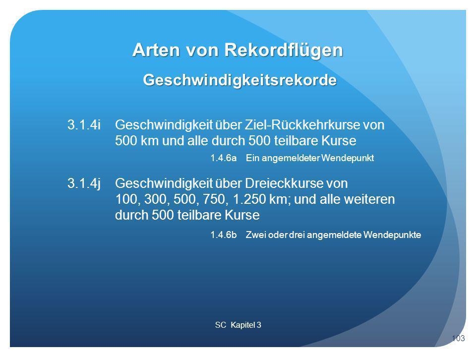 SC Kapitel 3 Geschwindigkeitsrekorde Arten von Rekordflügen 103 3.1.4iGeschwindigkeit über Ziel-Rückkehrkurse von 500 km und alle durch 500 teilbare Kurse 1.4.6a Ein angemeldeter Wendepunkt 3.1.4j Geschwindigkeit über Dreieckkurse von 100, 300, 500, 750, 1.250 km; und alle weiteren durch 500 teilbare Kurse 1.4.6b Zwei oder drei angemeldete Wendepunkte