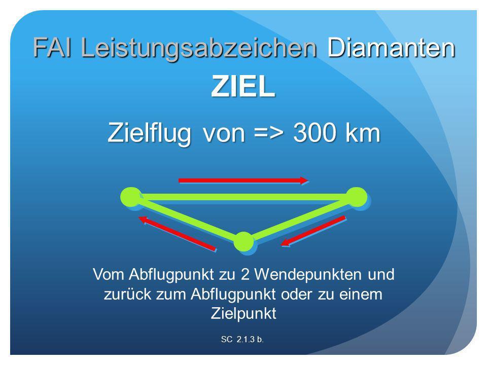 Vom Abflugpunkt zu 2 Wendepunkten und zurück zum Abflugpunkt oder zu einem Zielpunkt SC 2.1.3 b.