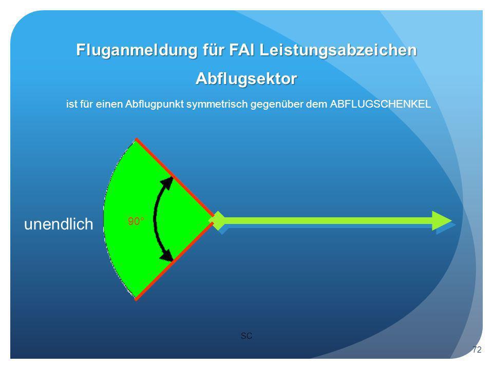SC Abflugsektor ist für einen Abflugpunkt symmetrisch gegenüber dem ABFLUGSCHENKEL 90° Fluganmeldung für FAI Leistungsabzeichen 72 unendlich