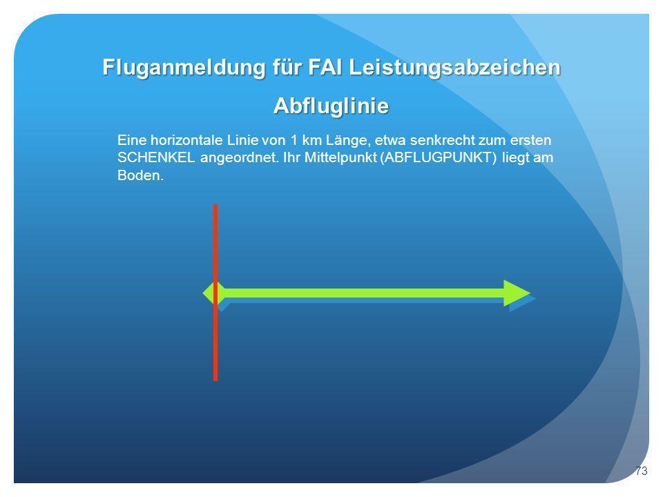 Abfluglinie Eine horizontale Linie von 1 km Länge, etwa senkrecht zum ersten SCHENKEL angeordnet.