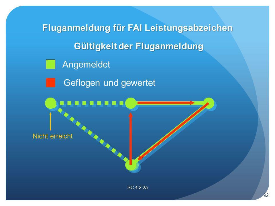 SC 4.2.2a Gültigkeit der Fluganmeldung Angemeldet Geflogen und gewertet Nicht erreicht Fluganmeldung für FAI Leistungsabzeichen 92