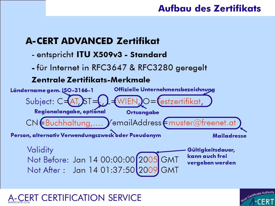 ©ARGE DATEN 2006 A-CERT CERTIFICATION SERVICE 12 A-CERT ADVANCED Zertifikat -entspricht ITU X509v3 - Standard - für Internet in RFC3647 & RFC3280 gere