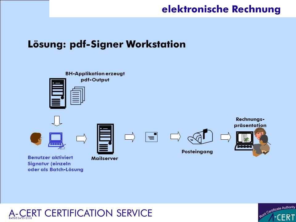©ARGE DATEN 2006 A-CERT CERTIFICATION SERVICE 26 elektronische Rechnung Lösung: pdf-Signer Workstation Rechnungs- präsentation Benutzer aktiviert Sign