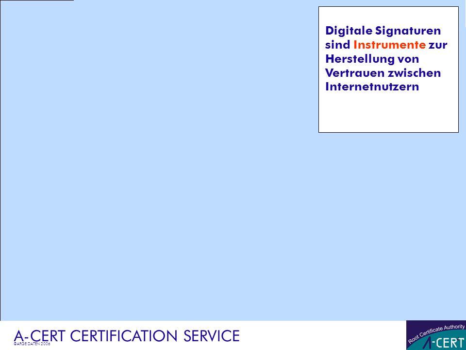 ©ARGE DATEN 2006 A-CERT CERTIFICATION SERVICE 5 Rechtliche Grundlagen Aufbau des Zertifikats Lösungsbeispiel pdf-Rechnung eBilling-Lösungsvarianten A-CERT ADVANCED Certificate Policy