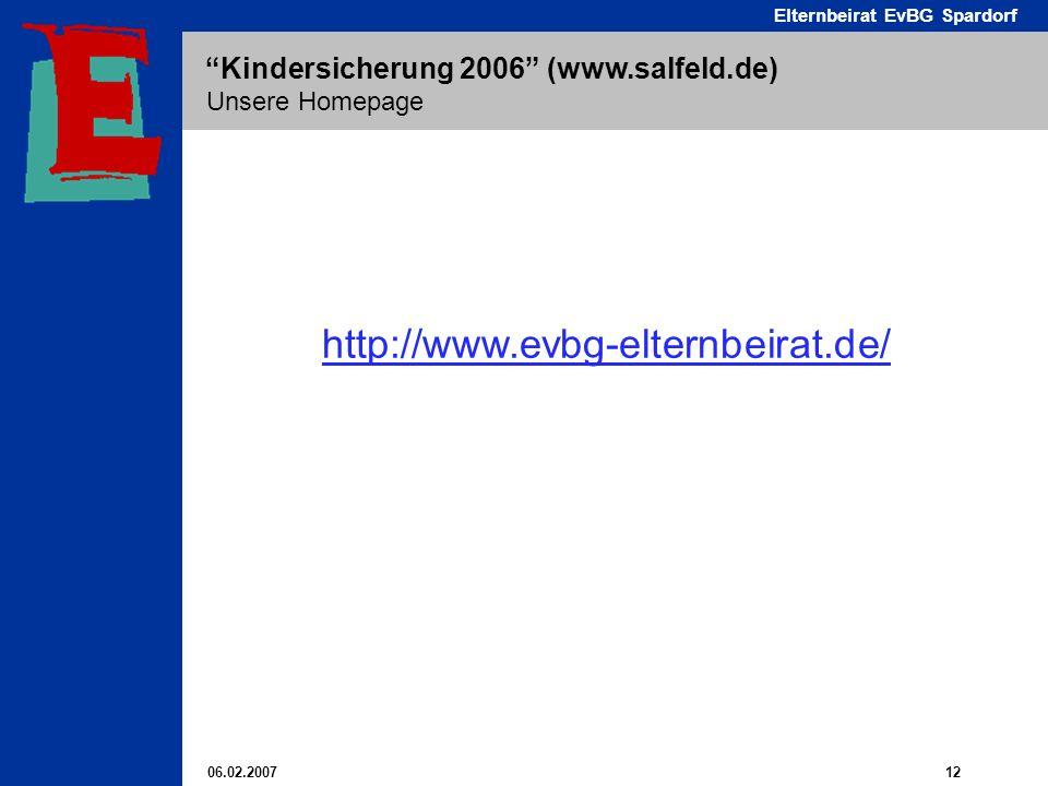 06.02.2007 12 Elternbeirat EvBG Spardorf Kindersicherung 2006 (www.salfeld.de) Unsere Homepage http://www.evbg-elternbeirat.de/