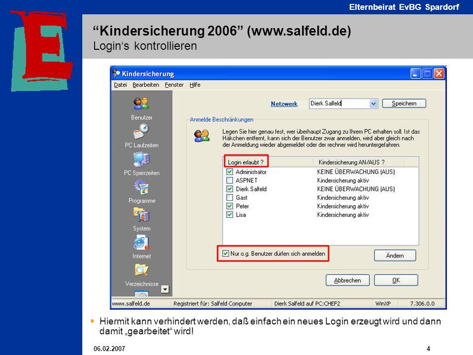 06.02.2007 4 Elternbeirat EvBG Spardorf Kindersicherung 2006 (www.salfeld.de) Logins kontrollieren Hiermit kann verhindert werden, daß einfach ein neues Login erzeugt wird und dann damit gearbeitet wird!
