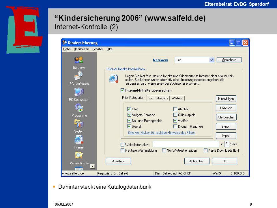 06.02.2007 9 Elternbeirat EvBG Spardorf Kindersicherung 2006 (www.salfeld.de) Internet-Kontrolle (2) Dahinter steckt eine Katalogdatenbank