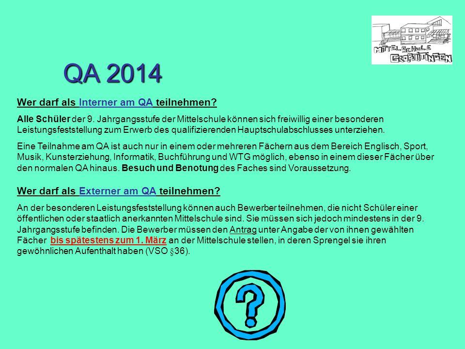 Wer darf als Interner am QA teilnehmen? Alle Schüler der 9. Jahrgangsstufe der Mittelschule können sich freiwillig einer besonderen Leistungsfeststell
