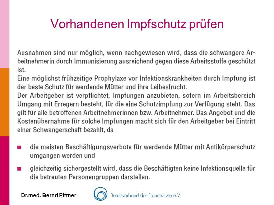 Dr.med. Bernd Pittner Vorhandenen Impfschutz prüfen
