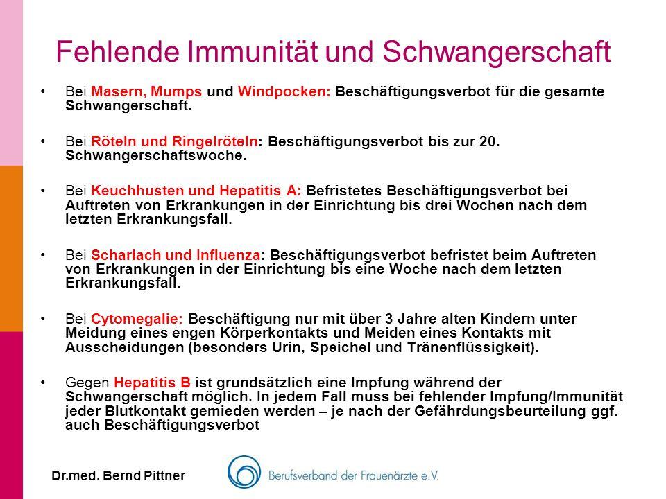 Fehlende Immunität und Schwangerschaft Dr.med. Bernd Pittner Bei Masern, Mumps und Windpocken: Beschäftigungsverbot für die gesamte Schwangerschaft. B