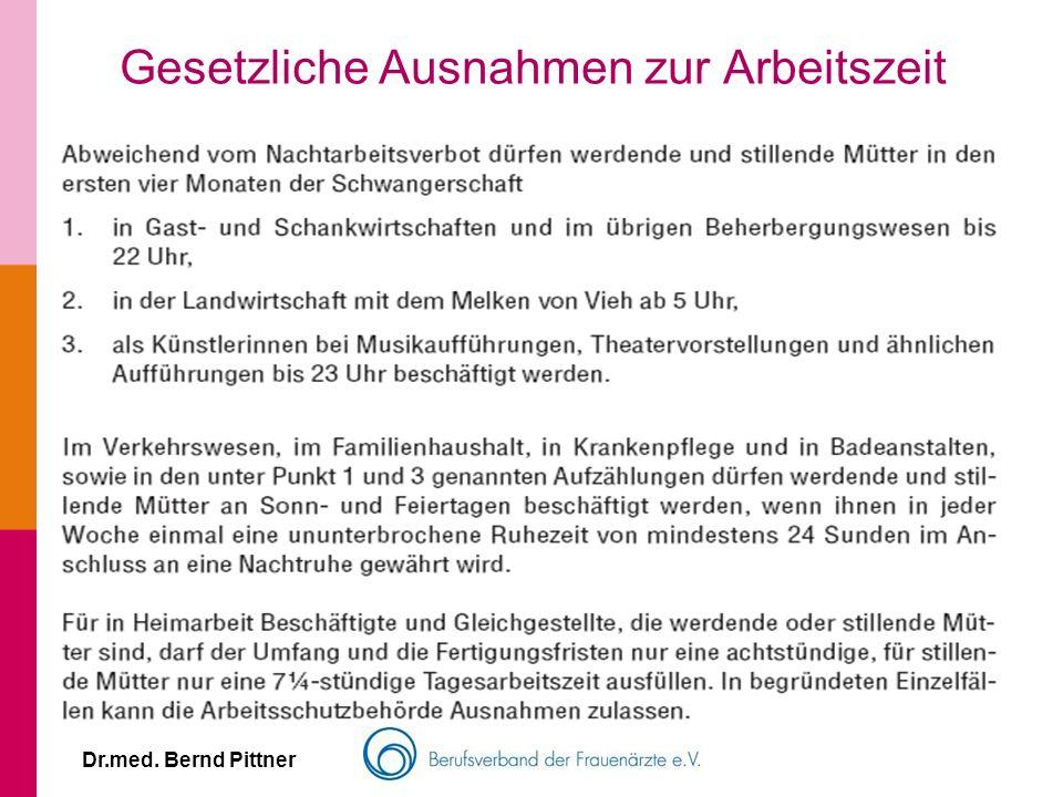 Dr.med. Bernd Pittner Gesetzliche Ausnahmen zur Arbeitszeit