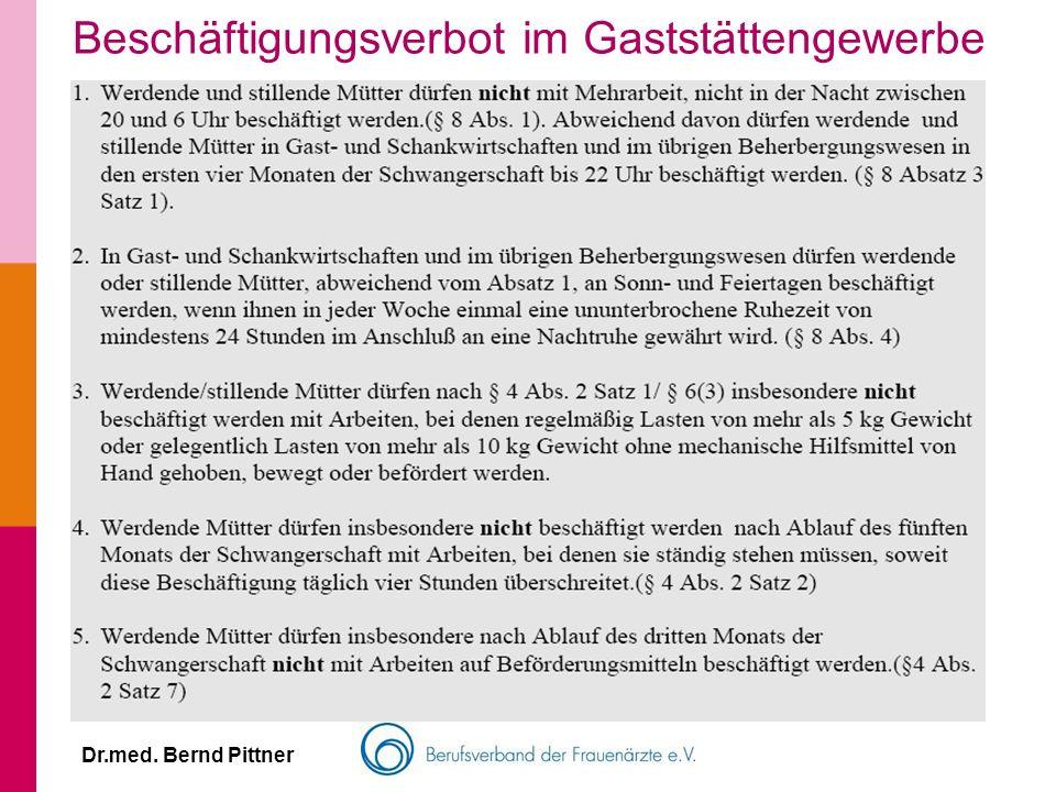 Dr.med. Bernd Pittner Beschäftigungsverbot im Gaststättengewerbe