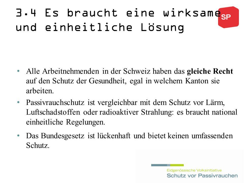 3.4 Es braucht eine wirksame und einheitliche Lösung Alle Arbeitnehmenden in der Schweiz haben das gleiche Recht auf den Schutz der Gesundheit, egal in welchem Kanton sie arbeiten.