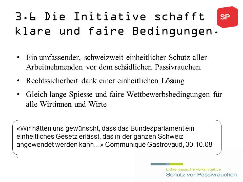 3.6 Die Initiative schafft klare und faire Bedingungen.