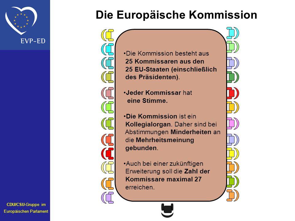 Die Kommission besteht aus 25 Kommissaren aus den 25 EU-Staaten (einschließlich des Präsidenten). Jeder Kommissar hat eine Stimme. Die Kommission ist