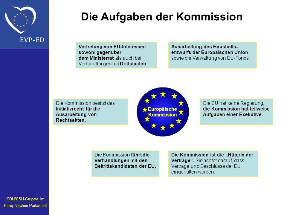 Europäische Kommission Die EU hat keine Regierung, die Kommission hat teilweise Aufgaben einer Exekutive. Die Kommission besitzt das Initiativrecht fü