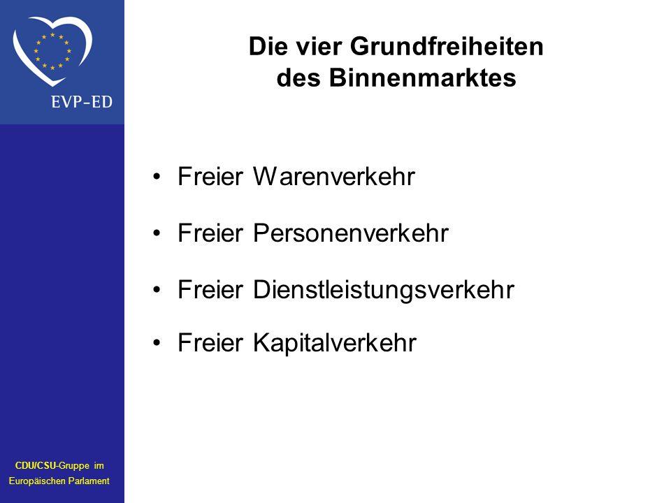Die vier Grundfreiheiten des Binnenmarktes Freier Warenverkehr Freier Personenverkehr Freier Dienstleistungsverkehr Freier Kapitalverkehr CDU/CSU-Gruppe im Europäischen Parlament