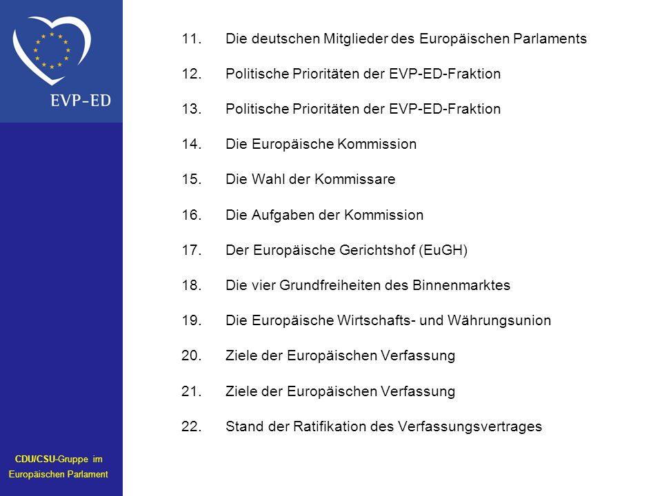 11.Die deutschen Mitglieder des Europäischen Parlaments 12.Politische Prioritäten der EVP-ED-Fraktion 13.Politische Prioritäten der EVP-ED-Fraktion 14.Die Europäische Kommission 15.Die Wahl der Kommissare 16.Die Aufgaben der Kommission 17.Der Europäische Gerichtshof (EuGH) 18.Die vier Grundfreiheiten des Binnenmarktes 19.Die Europäische Wirtschafts- und Währungsunion 20.Ziele der Europäischen Verfassung 21.Ziele der Europäischen Verfassung 22.Stand der Ratifikation des Verfassungsvertrages CDU/CSU-Gruppe im Europäischen Parlament