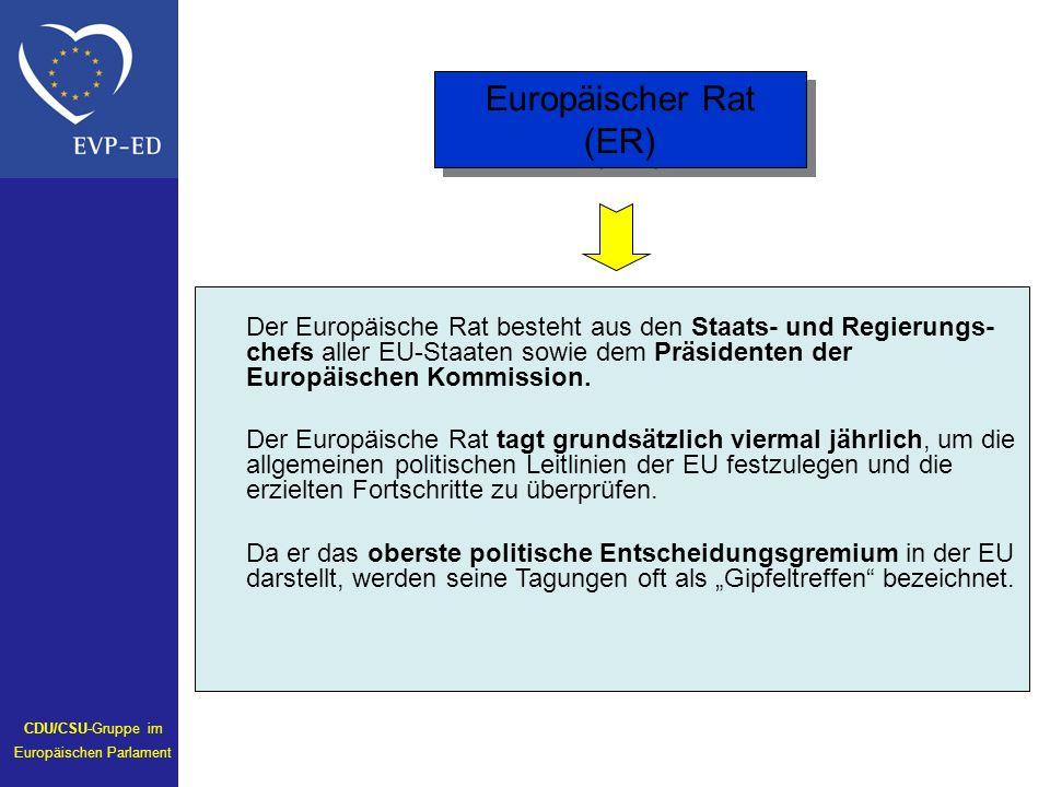 Der Europäische Rat besteht aus den Staats- und Regierungs- chefs aller EU-Staaten sowie dem Präsidenten der Europäischen Kommission.