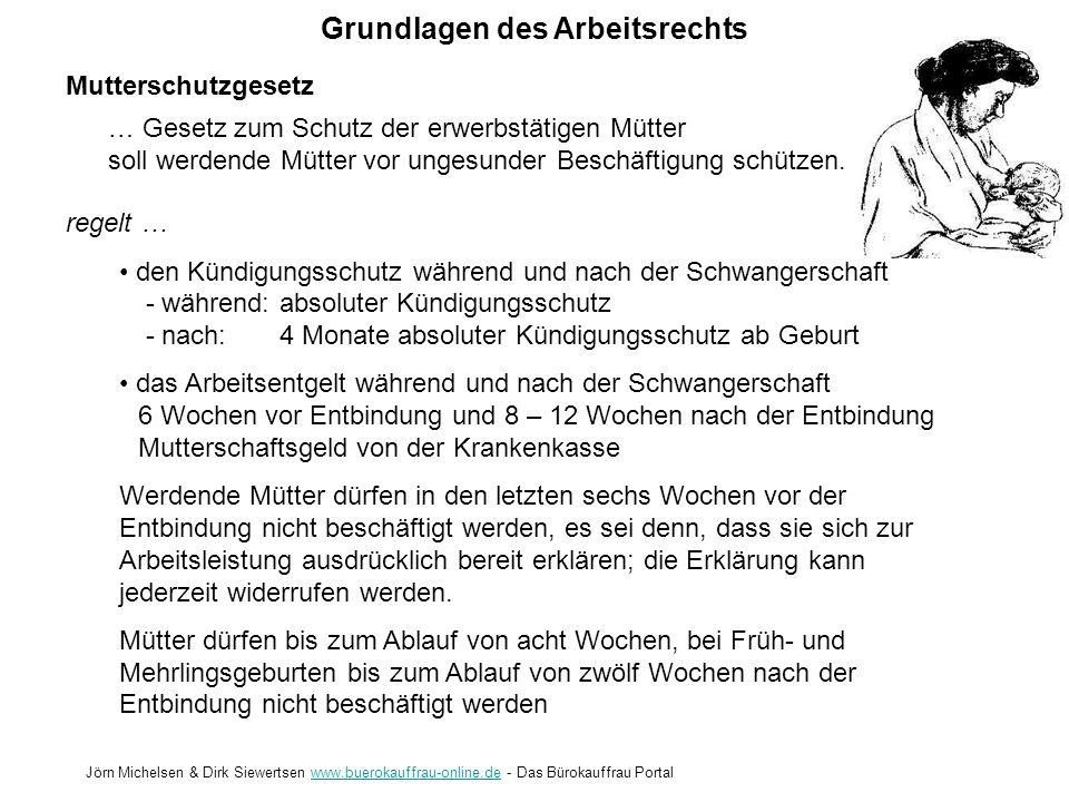 Grundlagen des Arbeitsrechts Jörn Michelsen & Dirk Siewertsen www.buerokauffrau-online.de - Das Bürokauffrau Portalwww.buerokauffrau-online.de Mutters
