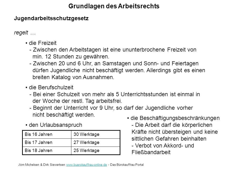 Grundlagen des Arbeitsrechts Jörn Michelsen & Dirk Siewertsen www.buerokauffrau-online.de - Das Bürokauffrau Portalwww.buerokauffrau-online.de Jugenda