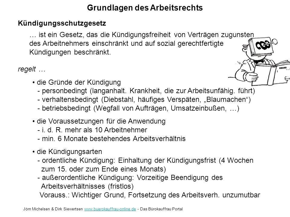 Grundlagen des Arbeitsrechts Jörn Michelsen & Dirk Siewertsen www.buerokauffrau-online.de - Das Bürokauffrau Portalwww.buerokauffrau-online.de Kündigu