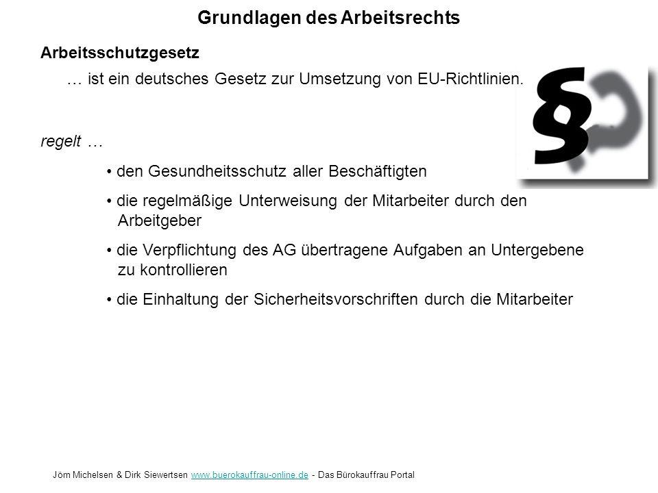 Grundlagen des Arbeitsrechts Jörn Michelsen & Dirk Siewertsen www.buerokauffrau-online.de - Das Bürokauffrau Portalwww.buerokauffrau-online.de Quellen www.wikipedia.de www.wissen.de www.google.de Encarta Enzyklopädie Berufsschulunterlagen