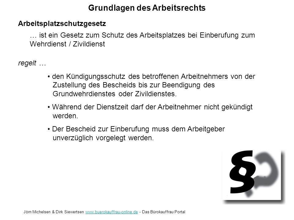 Grundlagen des Arbeitsrechts Jörn Michelsen & Dirk Siewertsen www.buerokauffrau-online.de - Das Bürokauffrau Portalwww.buerokauffrau-online.de Arbeitsstättenverordnung regelt … die Mindestabmessungen für Arbeitsräume die Lüftung und Temperierung die Mindestbeleuchtung die Anforderungen an innerbetriebliche Verkehrswege seit 2003 den Nichtraucherschutz … enthält die grundsätzlichen Anforderungen, die für Arbeitsstätten festgelegt sind.