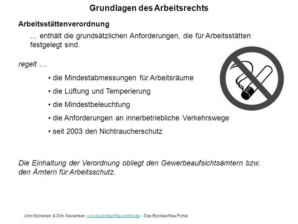 Grundlagen des Arbeitsrechts Jörn Michelsen & Dirk Siewertsen www.buerokauffrau-online.de - Das Bürokauffrau Portalwww.buerokauffrau-online.de Arbeits