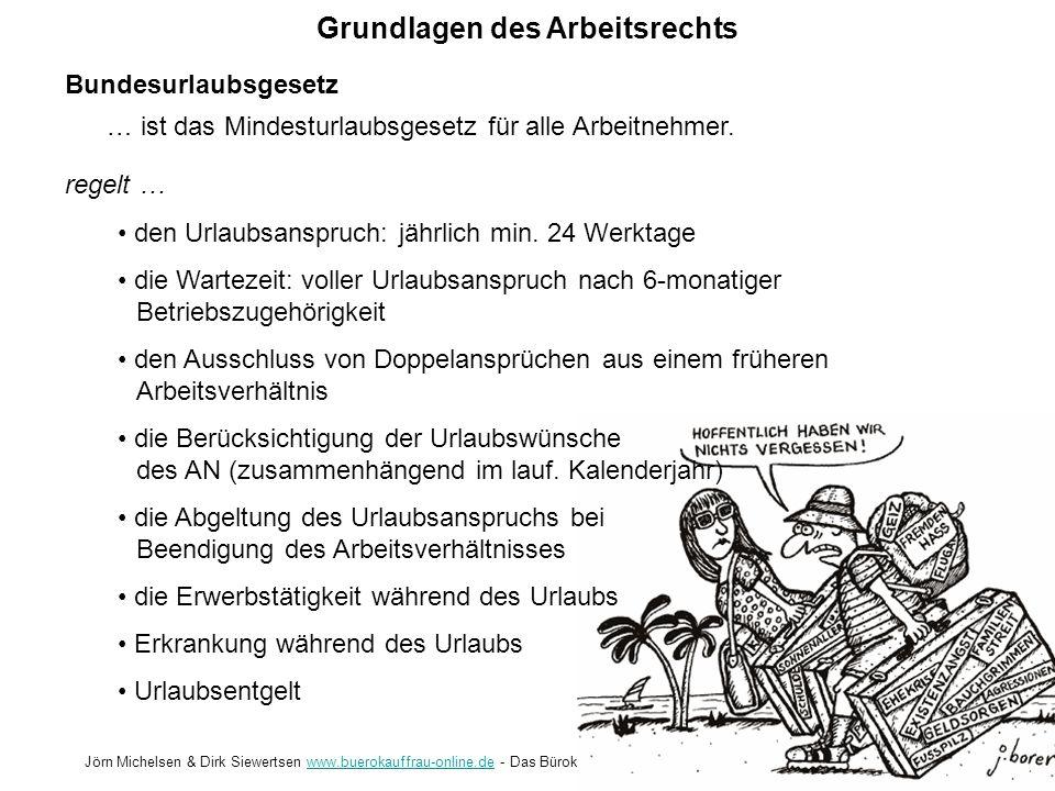 Grundlagen des Arbeitsrechts Jörn Michelsen & Dirk Siewertsen www.buerokauffrau-online.de - Das Bürokauffrau Portalwww.buerokauffrau-online.de Entgeltfortzahlungsgesetz regelt … die Voraussetzungen der Entgeltfortzahlung - min.