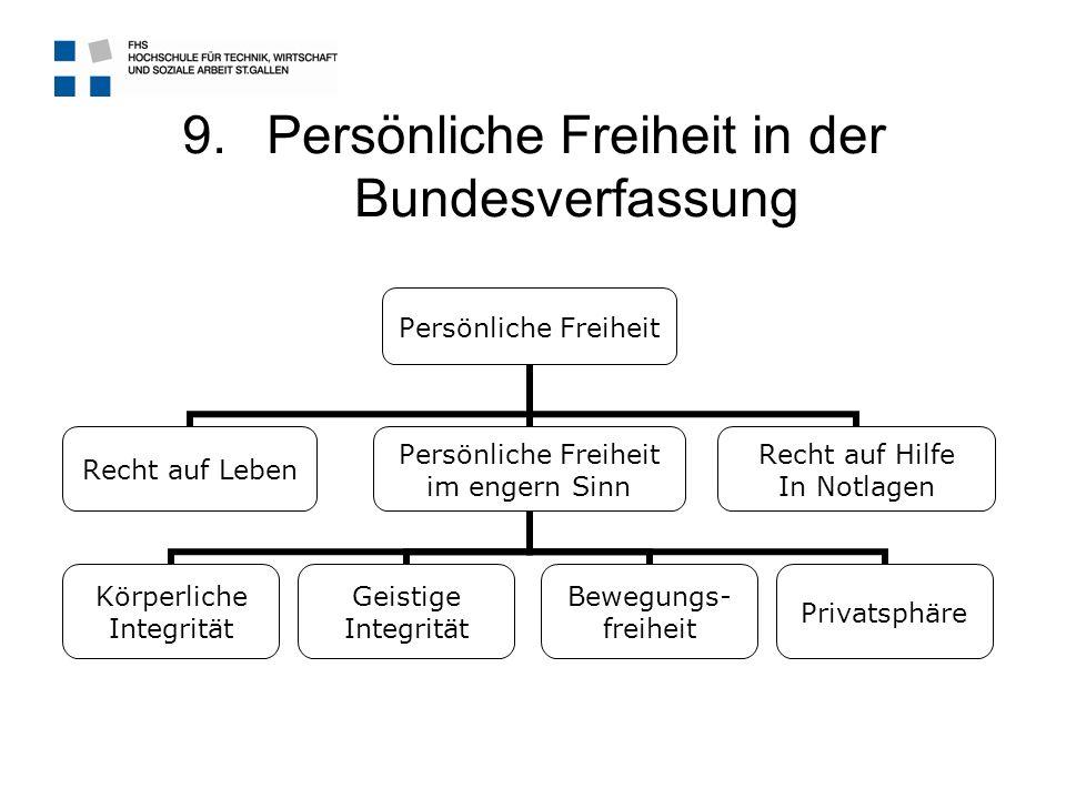 9.Persönliche Freiheit in der Bundesverfassung Persönliche Freiheit Recht auf Leben Persönliche Freiheit im engern Sinn Körperliche Integrität Geistig