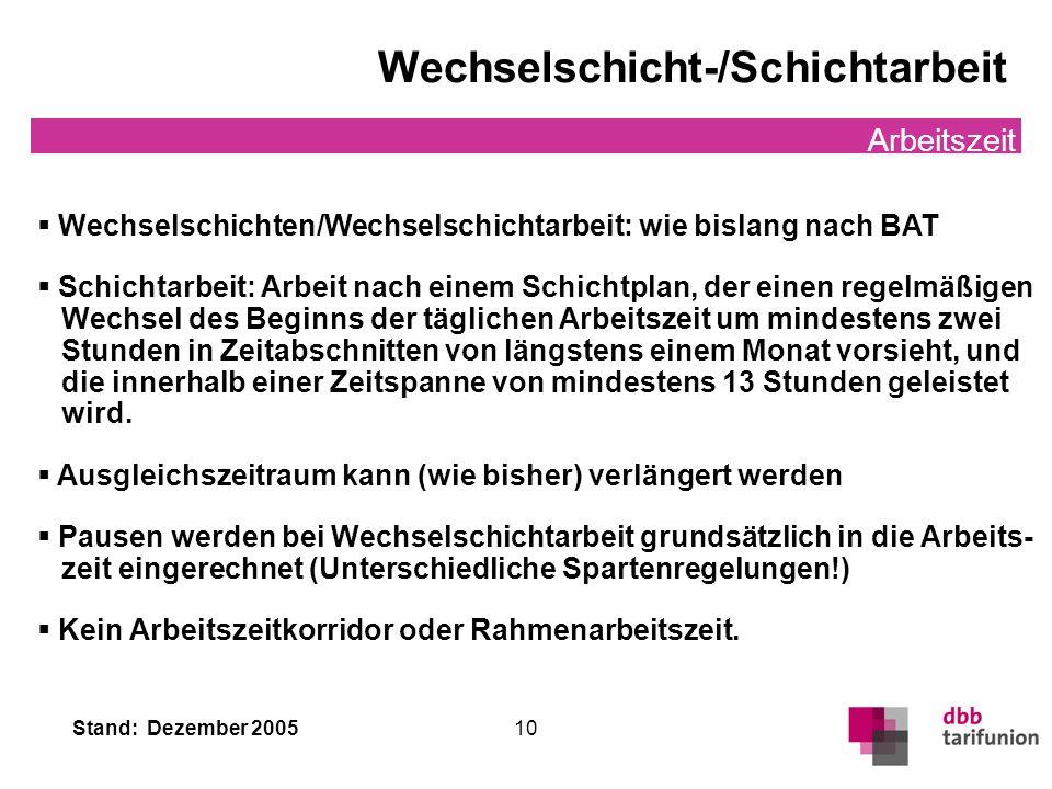 Stand: Dezember 2005 10 Wechselschicht-/Schichtarbeit Arbeitszeit Wechselschichten/Wechselschichtarbeit: wie bislang nach BAT Schichtarbeit: Arbeit na