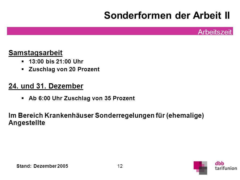 Stand: Dezember 2005 12 Sonderformen der Arbeit II Arbeitszeit Samstagsarbeit 13:00 bis 21:00 Uhr Zuschlag von 20 Prozent 24. und 31. Dezember Ab 6:00