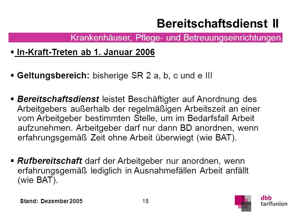 Stand: Dezember 2005 15 Bereitschaftsdienst II Krankenhäuser, Pflege- und Betreuungseinrichtungen In-Kraft-Treten ab 1. Januar 2006 Geltungsbereich: b