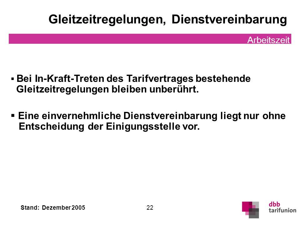 Stand: Dezember 2005 22 Gleitzeitregelungen, Dienstvereinbarung Arbeitszeit Bei In-Kraft-Treten des Tarifvertrages bestehende Gleitzeitregelungen blei