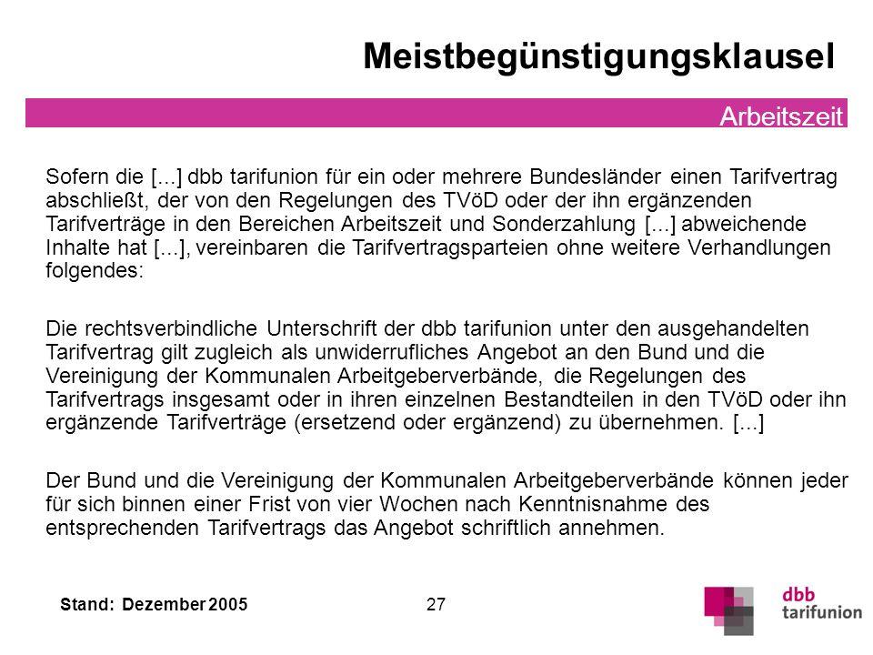 Stand: Dezember 2005 27 Meistbegünstigungsklausel Arbeitszeit Sofern die [...] dbb tarifunion für ein oder mehrere Bundesländer einen Tarifvertrag abs