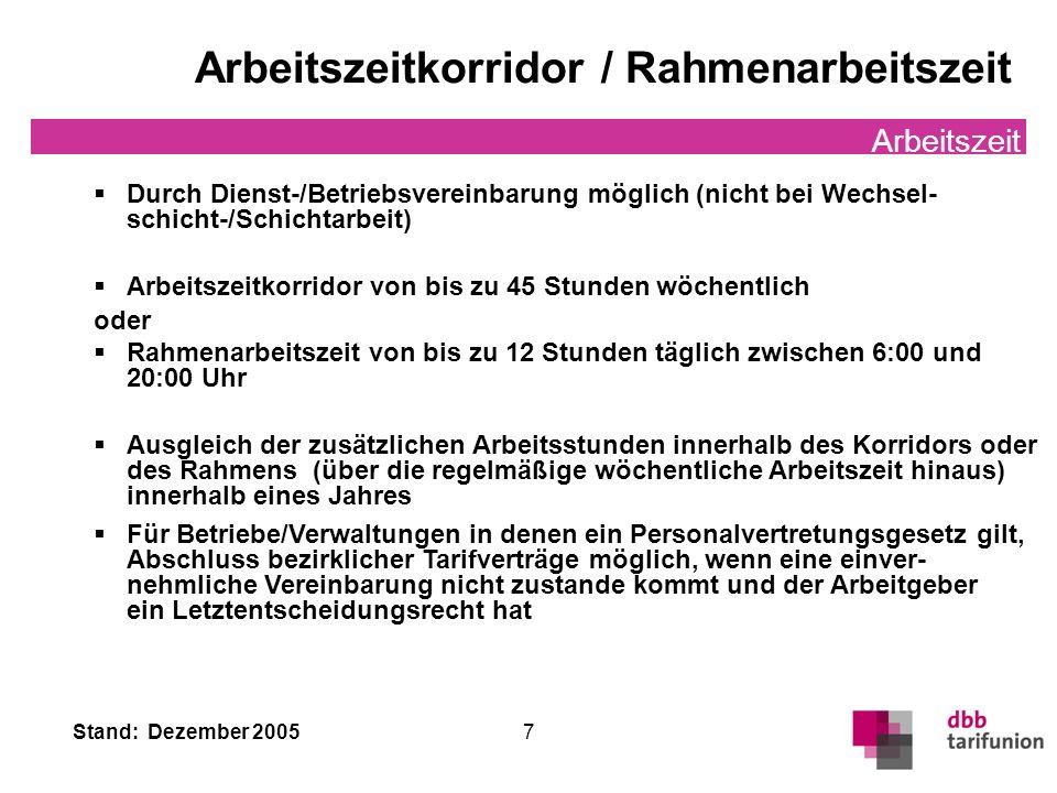 Stand: Dezember 2005 7 Arbeitszeitkorridor / Rahmenarbeitszeit Arbeitszeit Durch Dienst-/Betriebsvereinbarung möglich (nicht bei Wechsel- schicht-/Sch