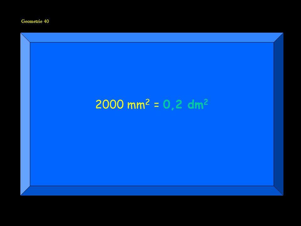Geometrie 40 2000 mm 2 = 0,2 dm 2