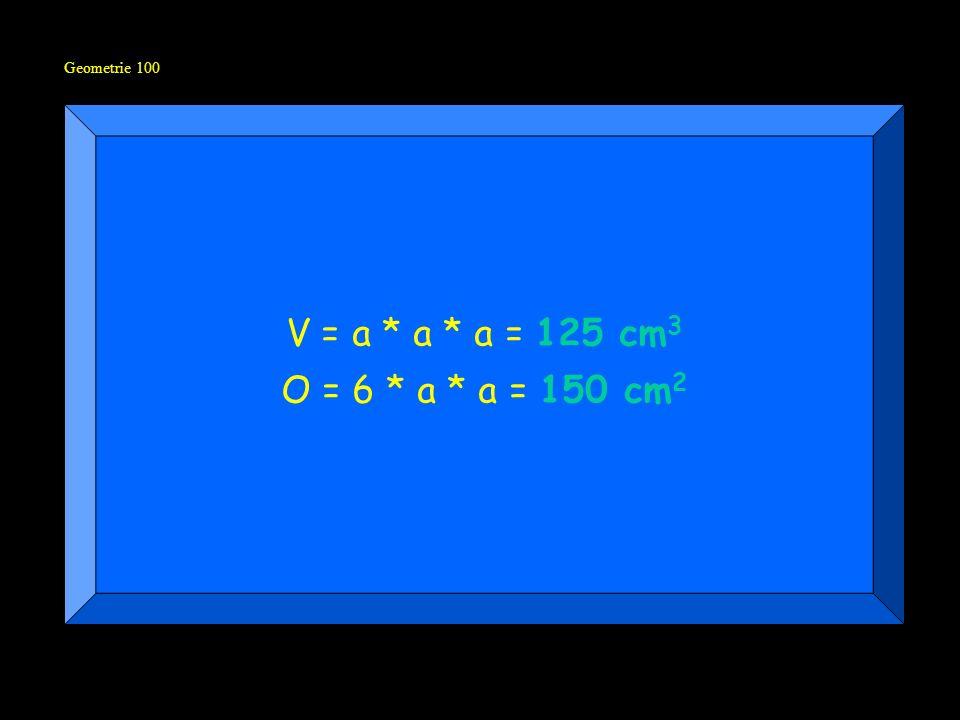 Geometrie 100 V = a * a * a = 125 cm 3 O = 6 * a * a = 150 cm 2