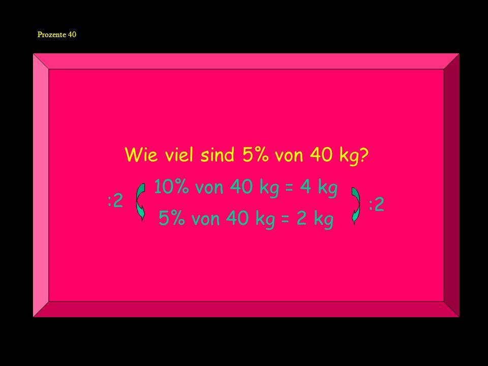 Prozente 40 Wie viel sind 5% von 40 kg? 10% von 40 kg = 4 kg 5% von 40 kg = 2 kg :2